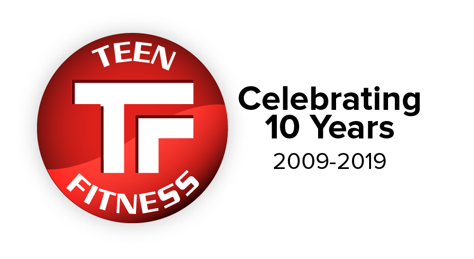 Teen Fitness 10th Anniversary logo, celebrating 10 years of Teen Fitness!